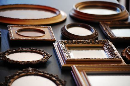 Collection of gold framed mirrors.