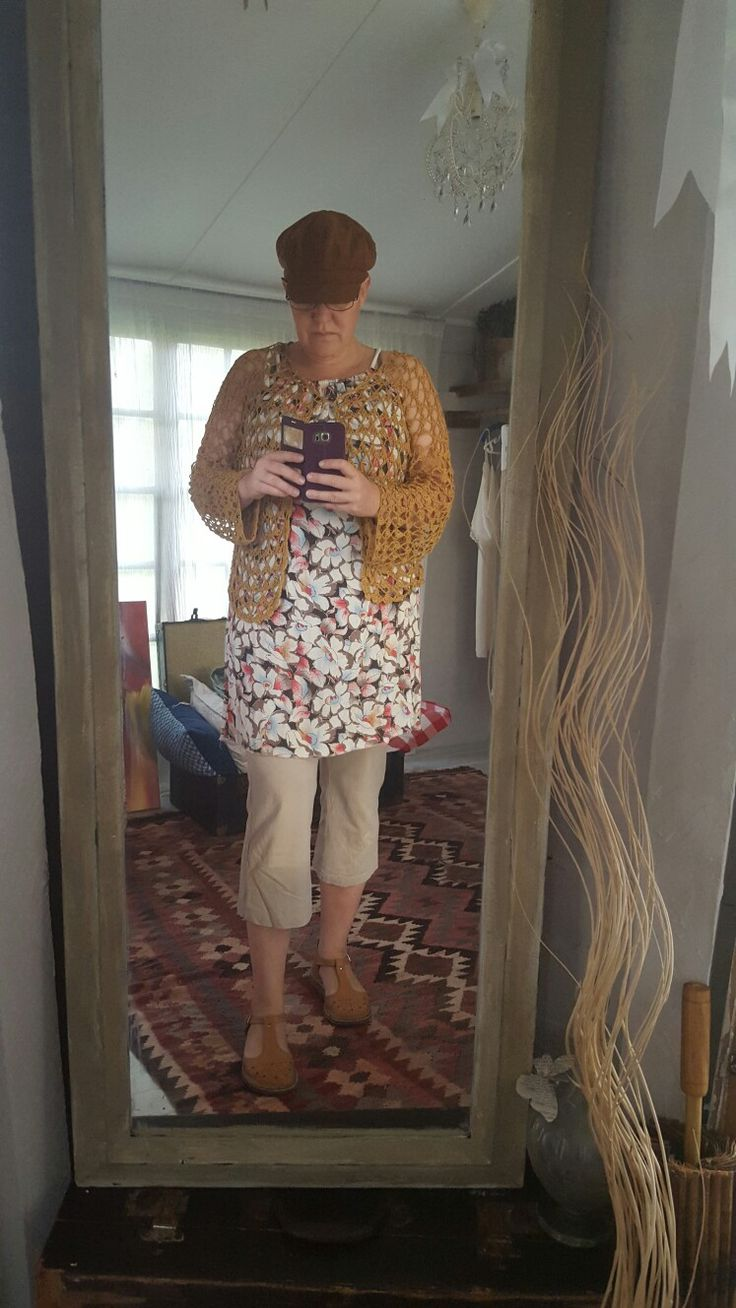 Love layering. Me made cardigan, friend made tunic, old pants , hand made shoes.