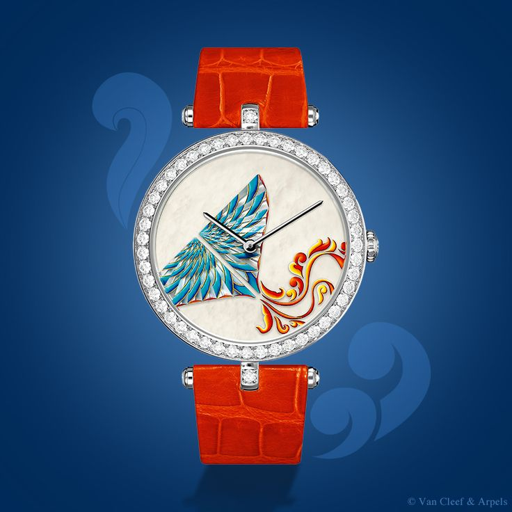 Van Cleef & Arpels Lady Arpels Cerf-Volant Cyan timepiece, Extraordinary Dials™ collection