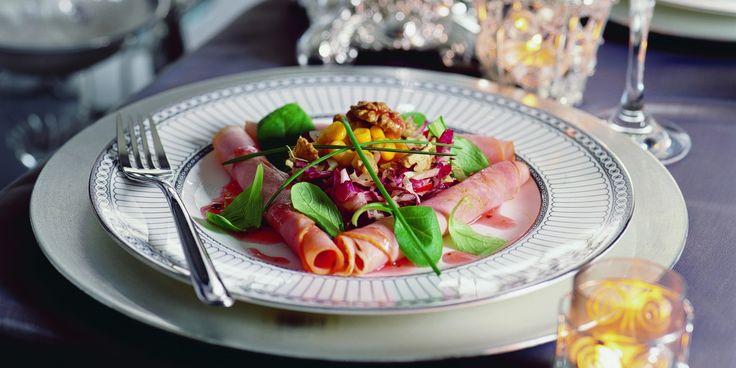 Salade van beenham met frambozen-notendressing – Boodschappen
