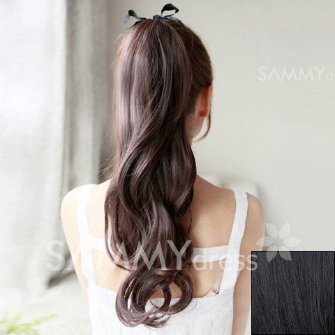 $7.02 Korean Style Fluffy Long Wavy Synthetic Ponytail For Women