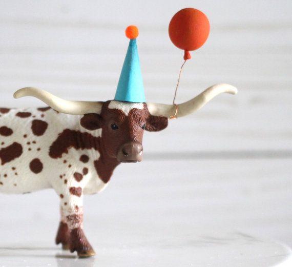 Longhorn Cake Topper Western Birthday Cowboy by HalfPintFauna