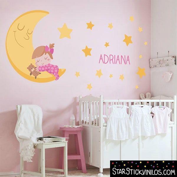 Vinilo luna y estrellas para beb s decoraci n cuarto for Stickers pared bebe