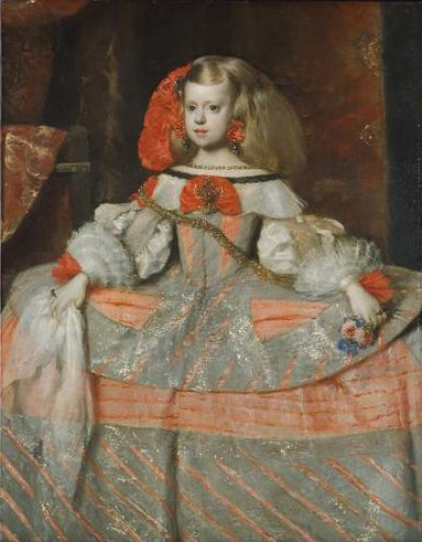 Infanta Margarita Teresa in a Blue Dress is one of the best known portraits by Spanish painter Diego Velázquez. Executed in oil on canvas, it measures 127 cm high by 107 cm wide and was one of Velázquez's last paintings, produced in 1659, a year before his death. It shows Margaret Theresa of Spain who also appears in the artist's Las Meninas.