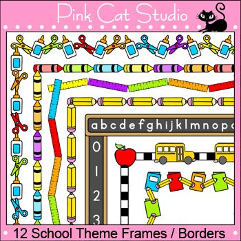 These fun school theme frames / borders will look great on your teaching resources. The black and white borders are great for student worksheets and activity pages. The color borders are perfect for dressing up your page and making it pop.This clip art set includes 12 unique frame designs in both color and black and white.These frames coordinate with my School Supplies Clip Art Set.The frames include:Chalkboard with Alphabet and NumbersCrayonsScissors and GlueNotebooks and PencilsSmall…