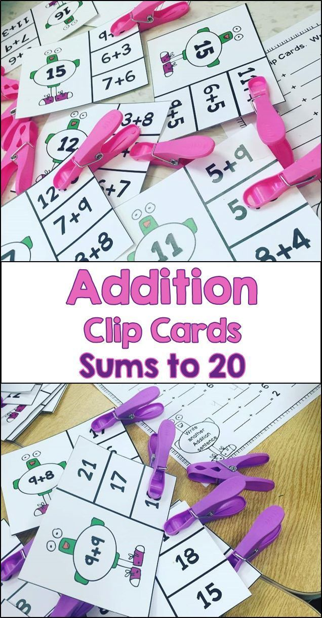 Perfect for centers!  These addition clip cards feature both find the sum to match the question and find the question to match the sum.  It includes cards up to sums of 20.  The cards can be easily divided up to create 4 sets - 2 sets of sums to 10 and 2 sets with sums from 11 - 20.