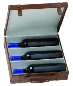 Cassetta in pelle con separatore per 3 bottiglie di vino da 750 ml. con portafoto.