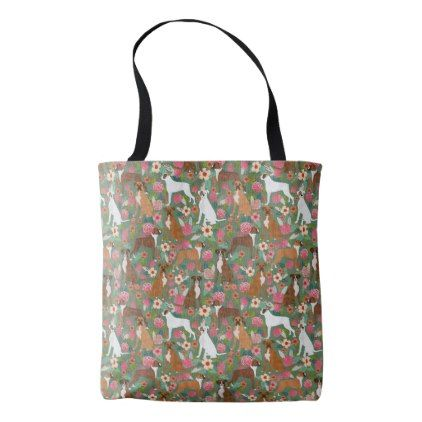 Boxer Dog Floral Tote Bags - pattern sample design template diy cyo customize