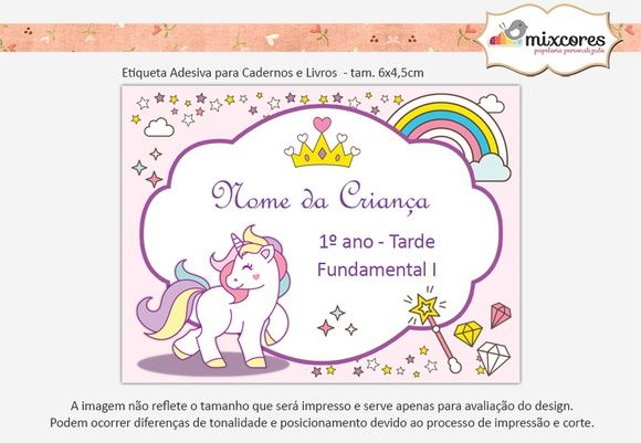 Etiquetas Adesivas Escolar - Cadernos e Livros - Unicórnio ...