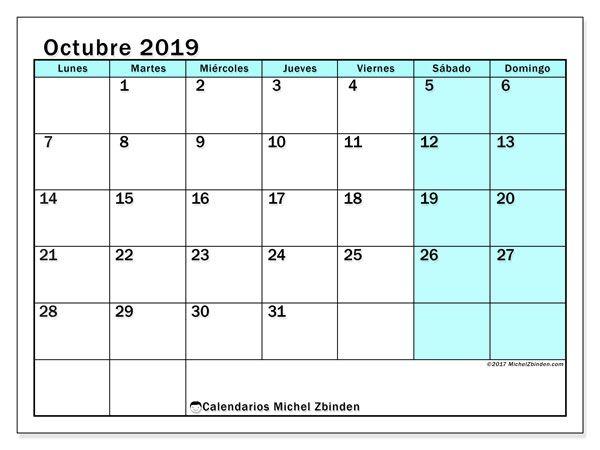 Calendario De Octubre 2019 Peru.Calendario Octubre 2019 59ld Manualidades Calendario