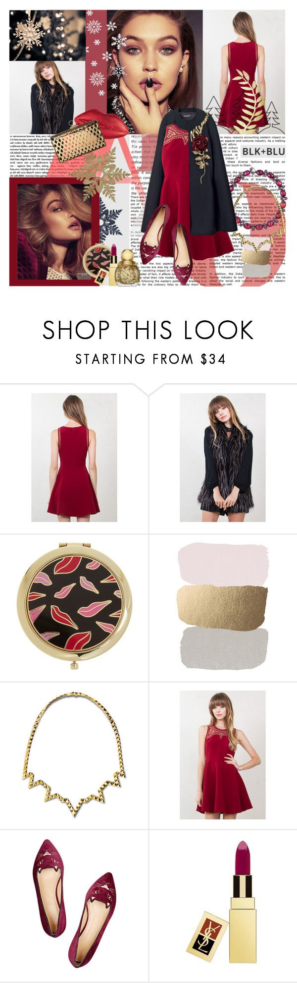 """""""Pretty lights on the tree, I'm watching them shine."""" by blueladybird ❤ liked on Polyvore featuring Diane Von Furstenberg, Larkspur & Hawk, Reece Hudson, Charlotte Olympia, Yves Saint Laurent, getmylook and blknbluonline"""