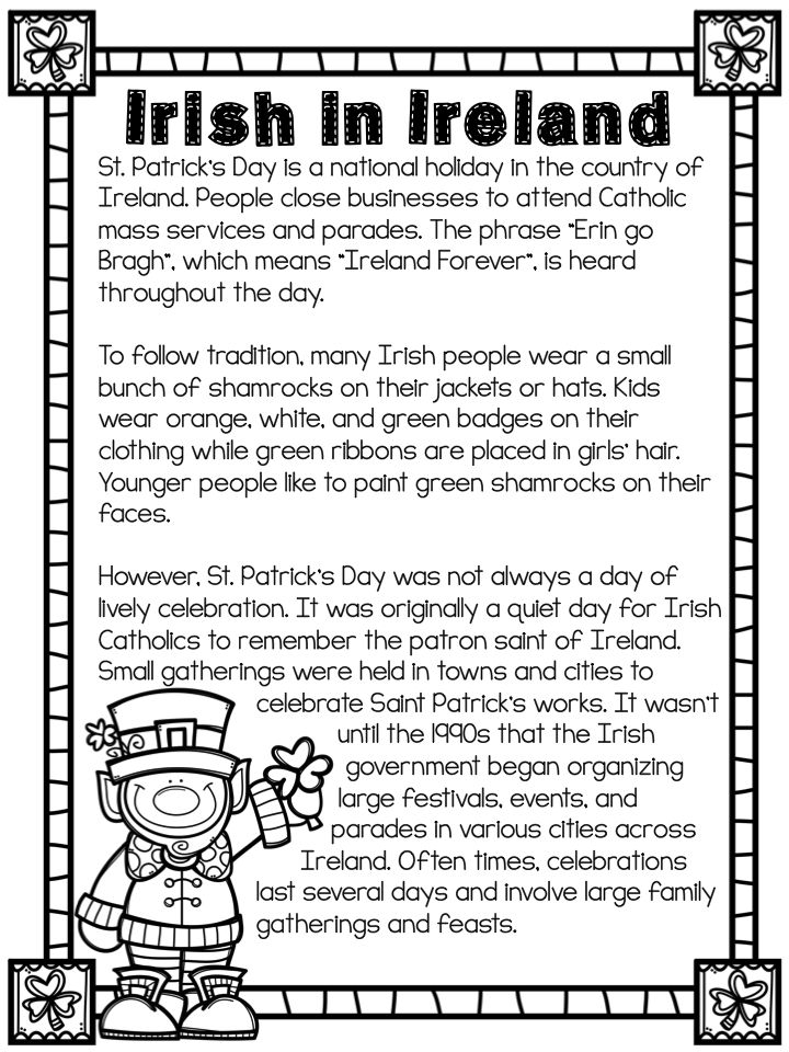 Don't leave it up to LUCK - St. Patrick's Day reading passages and comprehension.