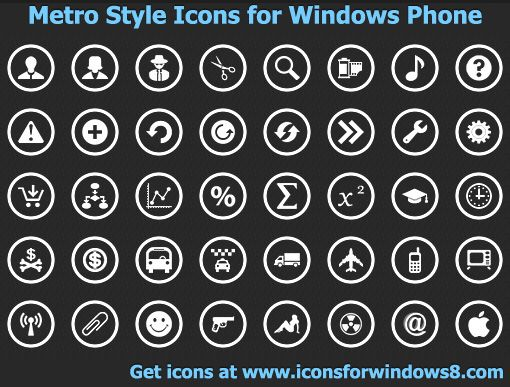 Metro Style Icons for Windows Phone is a collection of nearly 850 royalty-free icons for Windows Phone. Produced to match and exceed the design guidelines for Windows Phone 7 and Windows 8 systems, this collection of application bar icons includes white, transparent 48 x 48 images drawn in a central square of 26x26 pixels and supplied in the PNG format. Design perfect apps for Windows Phone and Windows 8 devices today! Metro is coming as a new user interface concept on Windows 8 powered…