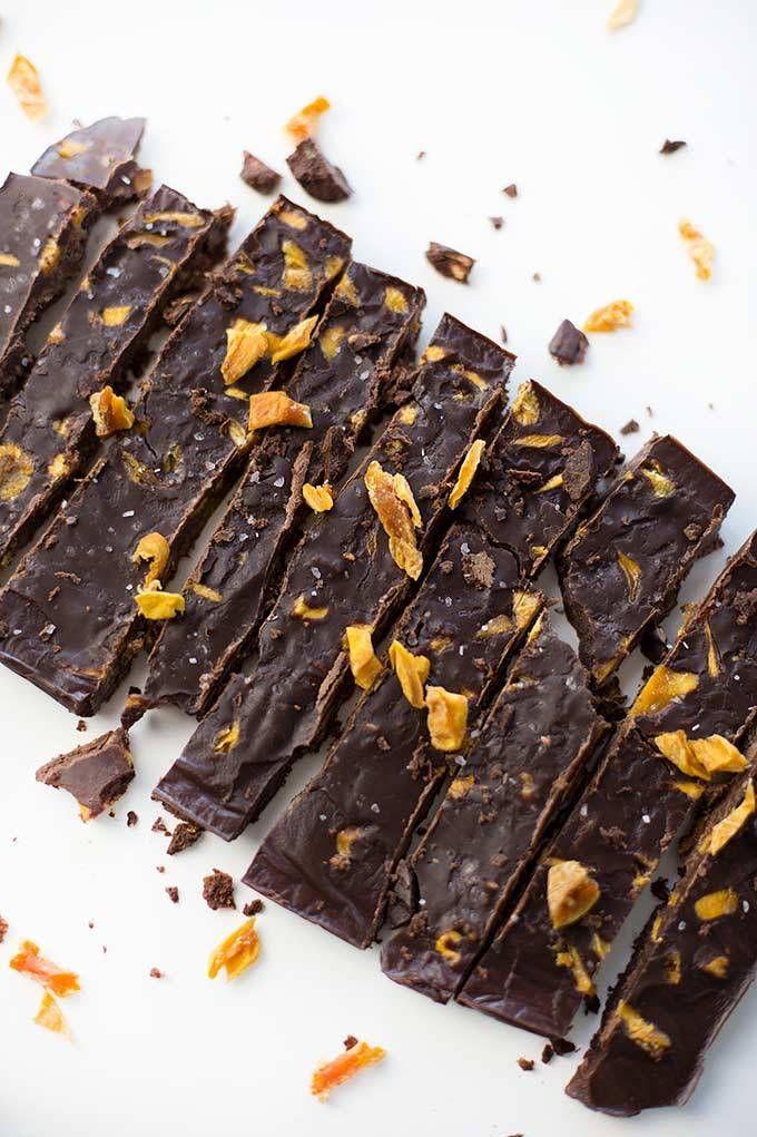 Salted Dark Chocolate with Mango – dairy-free chocolate bursting with chunks of dried mango and sprinkled with sea salt. Just one of many Paleo Dark Chocolate Treats!