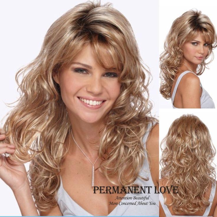 Hittebestendige Synthetisch haar golvend Lange blonde Pruiken met pony kant voor Vrouwen natuurlijke haarlijn euraziatische krullend haar meisjes stijl