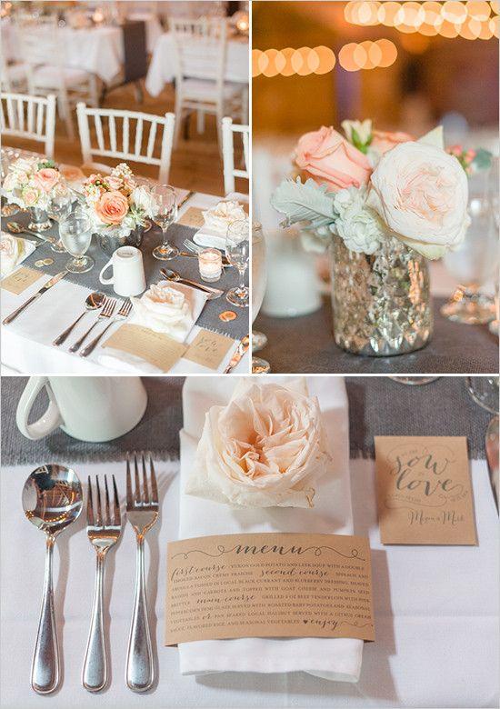 grey white and peach table decor @weddingchicks