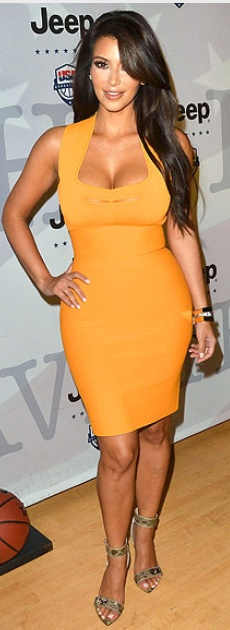 Who made Kim Kardashian's sandals and orange cut out dress that she wore in New York?