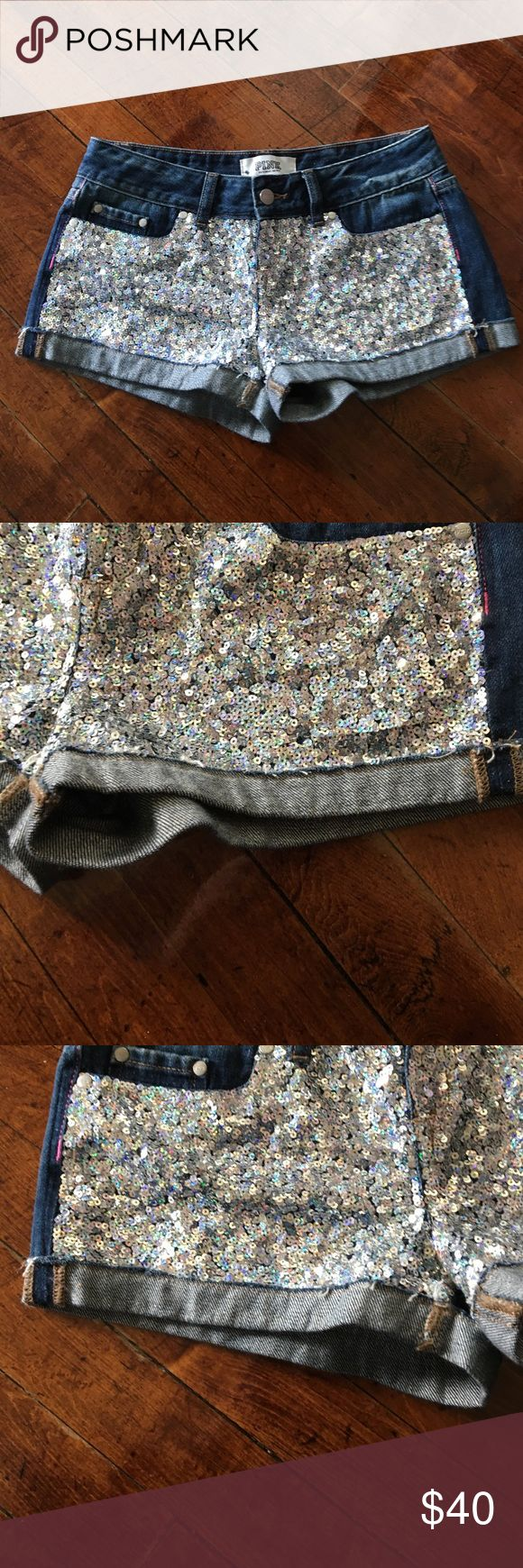 PINK Sparkle Shorts PINK By Victoria Secret silver sequin shorts. Size 0. Fraying around bottom of shorts on the fold over part. In good condition. Very cute for summertime! ☀️️🌺 PINK Victoria's Secret Shorts Jean Shorts