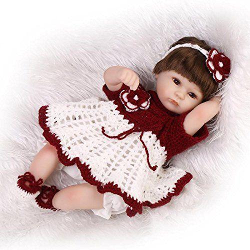 Nicery Reborn Bambola molle del bambino di simulazione del silicone vinile da 18 pollici 45 centimetri magnetica Bocca realistica parrucca Fiore Rosso Bianco giocattolo sveglio dei bambini con gli occhi acrilico Regalo di Natale Reborn Doll