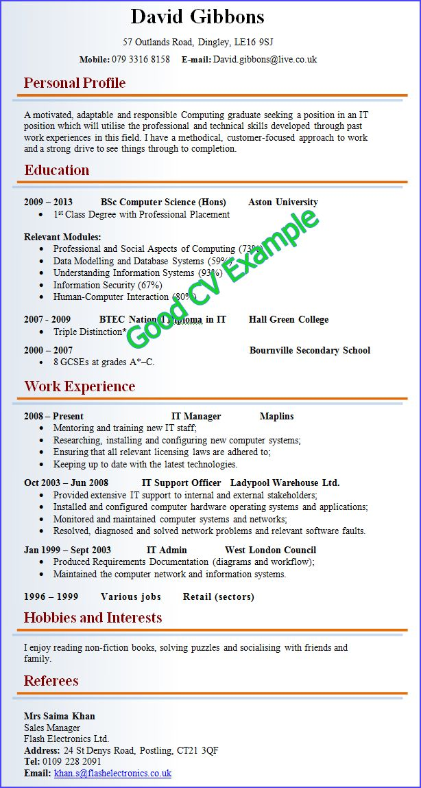 example of a good cv for a job