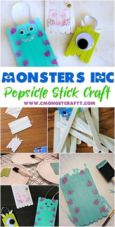 You Need to Make These Fun Monster's Inc Popsicle Stick Ornaments