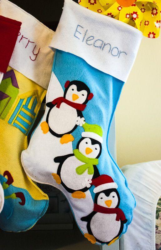 diy felt stocking with embroidered name and felt applique penguin design