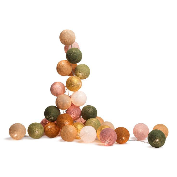 Guirlande lumineuse composée d'une guirlande en fil argent équipé d'un interrupteur et de 20 boules dans les tonskaki, rose et doréen fil de polyester encollé.Les boules de cetteguirlande s...
