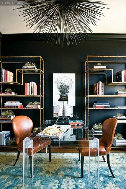 gender-neutral, two person office: sleek black walls and lucite desk are cozied up by the plush carpet and leather chairs.