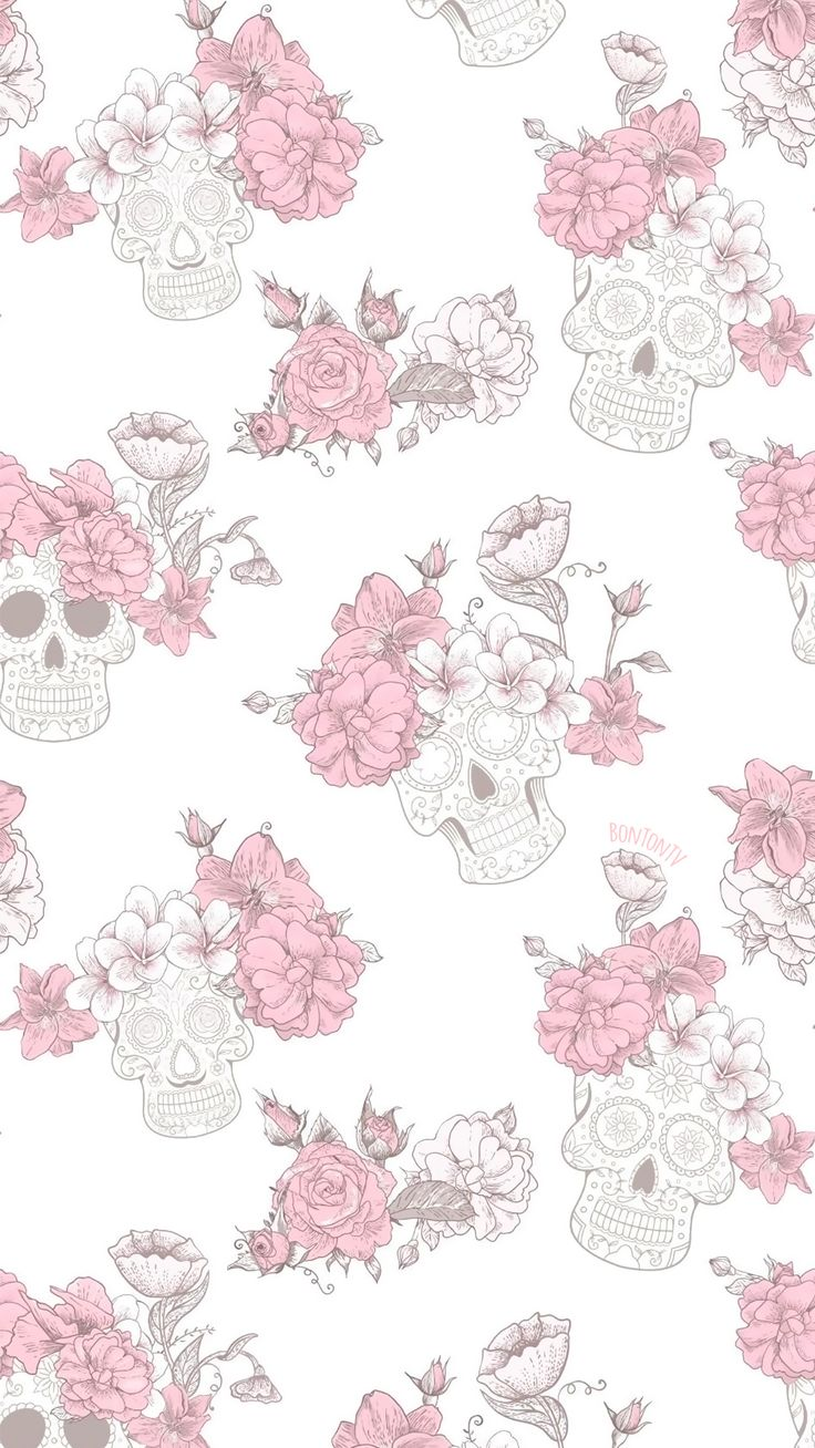 Phone Wallpapers HD Flower Skull Pink Roses – by BonTon TV – Free Backgrounds 10…
