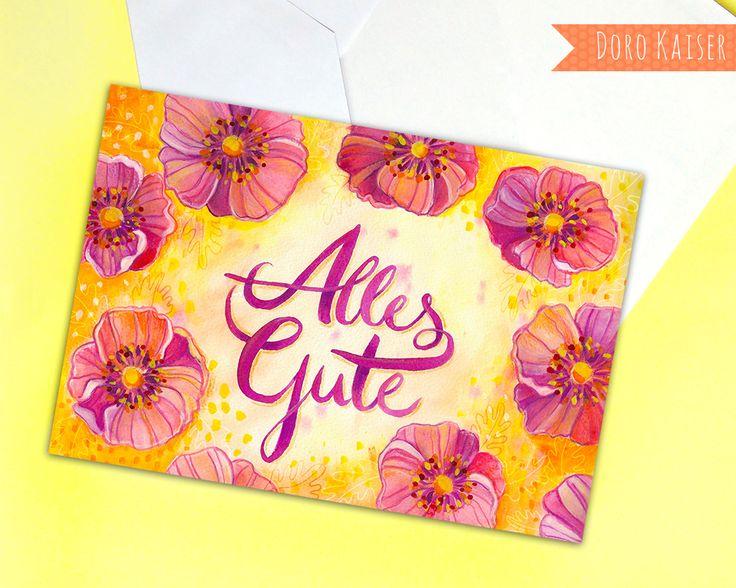 "Kartendesign ""Alles Gute"", Grußkarte zum Geburtstag, free for licensing"