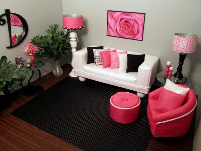Find this Pin and more on Living room scale 16 Pretty pink and black doll furniture