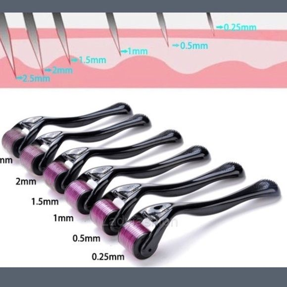Titanium microneedle derma roller⭐️U NEED 1 Everyone should own at least one of these! They really work to get rid of wrinkles, sun spots, fine lines and any imperfections. I have all sizes listed. If your planning to use it on your face you should start off with a 0.5mm-1mm then work your way up to a 1.5mm. If your using it on your thighs or stomach for stretch marks you can start at a 1.5mm and work your way up to a 2mm. Makeup
