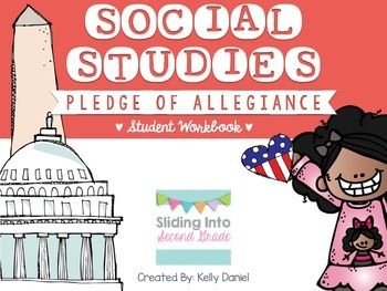 Kick off your year with an introductory lesson about citizenship by discussing our Pledge of Allegiance. It's surprising to see how many kids recite the words but have little knowledge on the meaning behind them and why we, as Americans, say it each day.This workbook includes:-Color, cut, and match images to each line of the Pledge-Room for students to practice writing the Pledge on each page!-Workbook interactive pages for each line that explains what the words mean