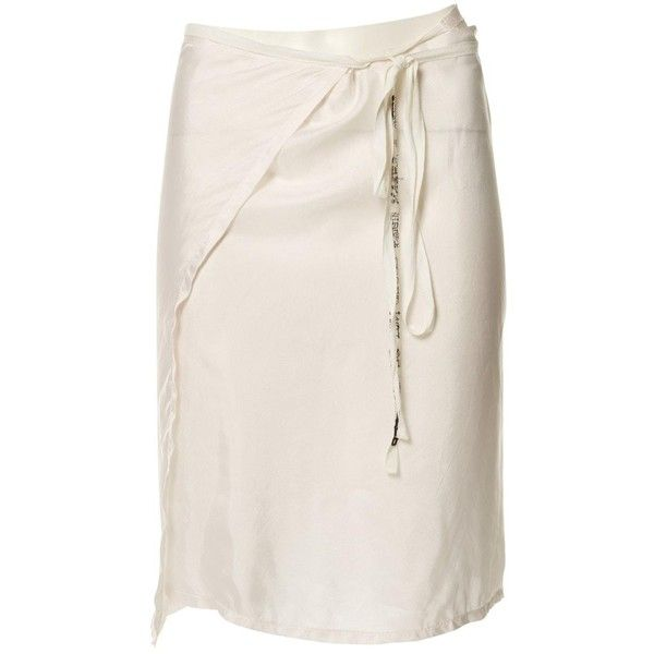 Pre-owned Ann Demeulemeester Silk Mid-Length Skirt ($159) ❤ liked on Polyvore featuring skirts, white, women clothing skirts, white knee length skirt, ann demeulemeester skirt, silk skirt, white mid length skirt and mid length skirts