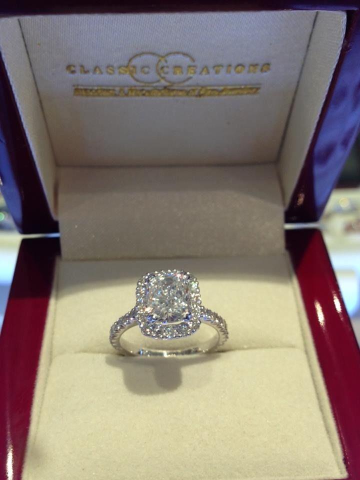 Classic Creations Optic Set Cushion Cut Engagement Ring #cushioncut #engagementring #diamonds