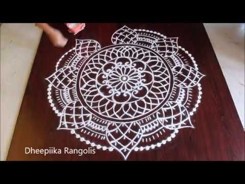 Beautiful flower rangoli designs without dots II friday kolam designs II latest muggulu designs - YouTube