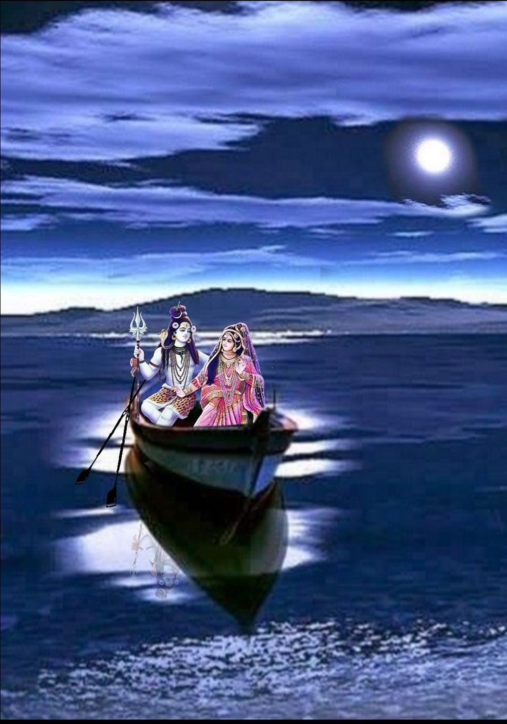 Lord Shiva and Parvati in a boat in creative art painting