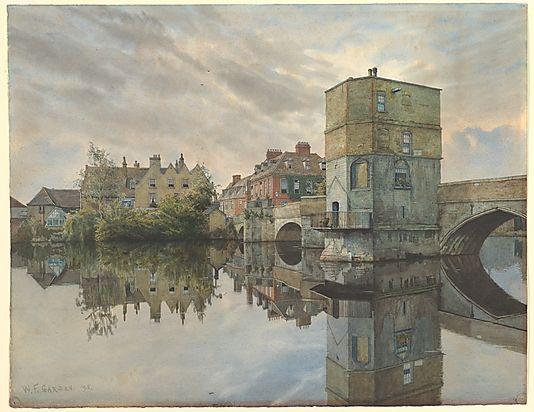St. Ives Bridge, St. Ives, Huntingdonshire William Fraser Garden (British, Chatham 1856–1921 Huntingdon (?)) Date: 1895 Medium: Watercolor, ...