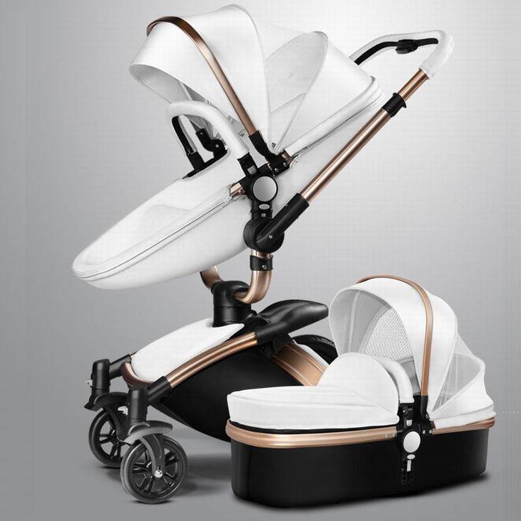 New fashion pram Stroller for baby stroller leather two-way bb car trolley bassinet four wheel suspension travel stroller pram