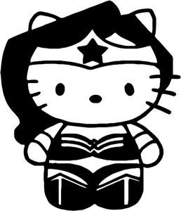 Wonder Woman Hello Kitty Coloring Sheet #SuperHero #SuperHeroes #Hero #Heroes…