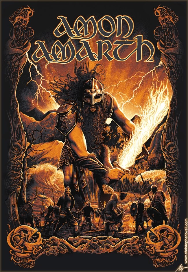 Amon Amarth <3 They are viking metal, a sort of sub-genre of Death Metal. They are from Sweden and their songs are about Norse Mythology. Favorite songs: Twilight of the Thunder God https://www.youtube.com/watch?v=edBYB1VCV0k and Hel https://www.youtube.com/watch?v=P_TTclm4wX0