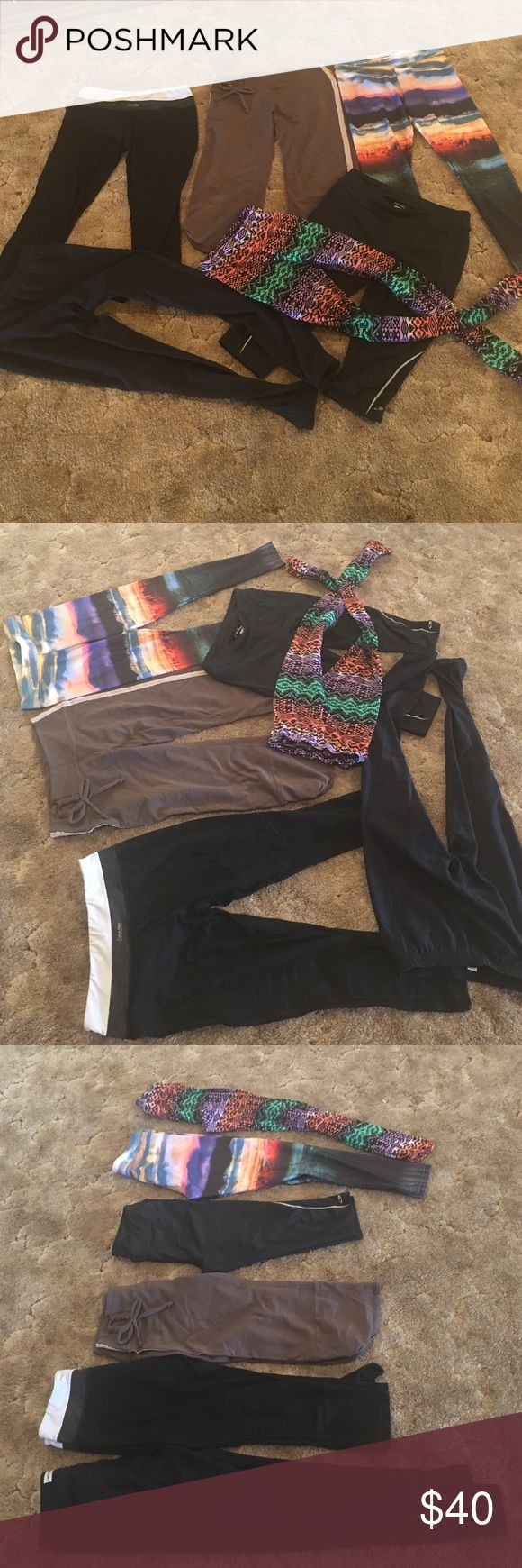 BUNDLE: 6 workout capris! American Eagle + more Price is for everything. I'd prefer to sell as a package to clear closet space. From L to R: black Under Armour pants - sz M, very slight pilling on inner thigh. Black/white Calvin Klein capris - sz S, perfect condition. Brown Homme Body - sz S, great condition. Black champion capris - sz S, great condition. American Eagle sunset pants - sz M, great condition, very pretty. Patterned leggings - sz S/M, great condition. Despite some being small…