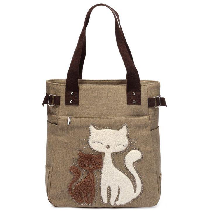 Cute Cat Shoulder Bag Women Bag Canvas Women Handbag