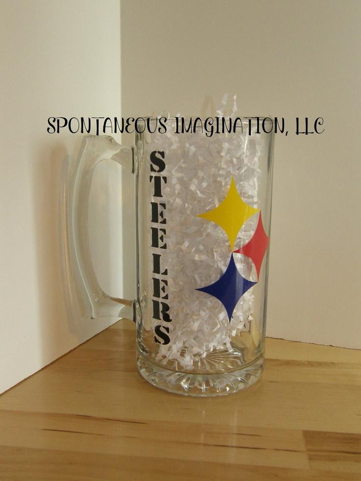 PERSONALIZED Beer Mug- Steelers- NFL. $11.50, via Etsy.