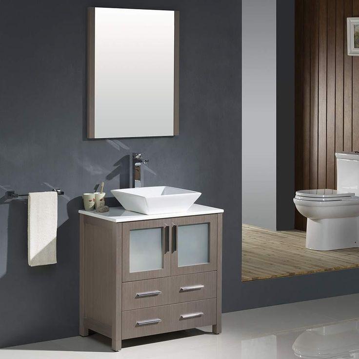 Photo Image Fresca Torino Gray Oak Modern Bathroom Vanity w Vessel Sink