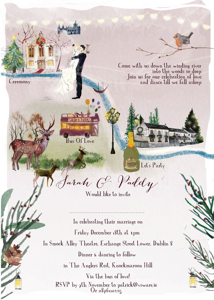 Map invitation for a Christmas wedding