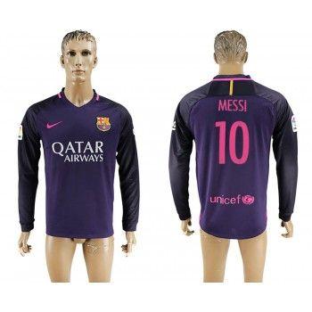 Barcelona 16-17 Lionel Messi 10 Bortatröja Långärmad  #Billiga #fotbollströjor