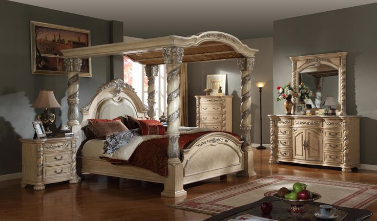 traditional white leather poster canopy bed 4 piece bedroom set w marble tops