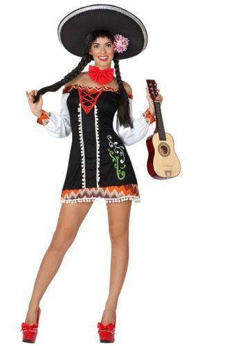 Mexicaans kostuum voor dames. Zwart Mexico jurkje voor dames in Mexicaans thema. Exclusief accessoires. Carnavalskleding 2015 #carnaval