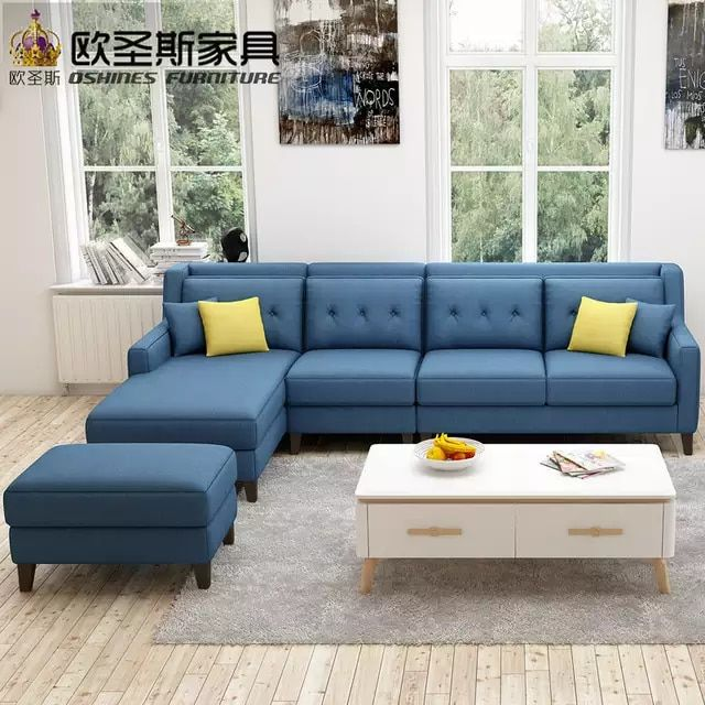 New Arrival American Style Simple Latest Design Sectional L Shaped Corner Living Room F Living Room Sofa Design Living Room Sofa Set Blue Furniture Living Room